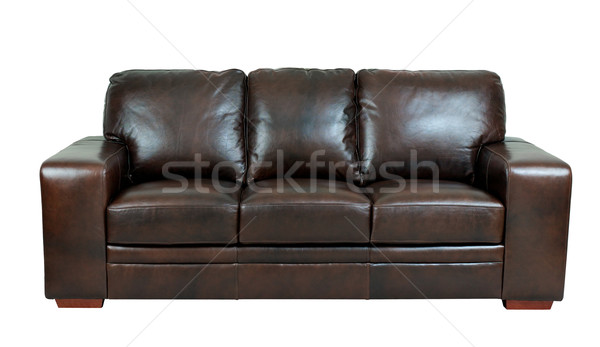 Dark brown genuine leather sofa bench isolated on white backgrou Stock photo © JohnKasawa
