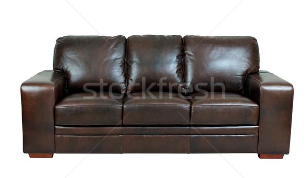 暗い ブラウン 純正 革 ソファ ベンチ ストックフォト © JohnKasawa