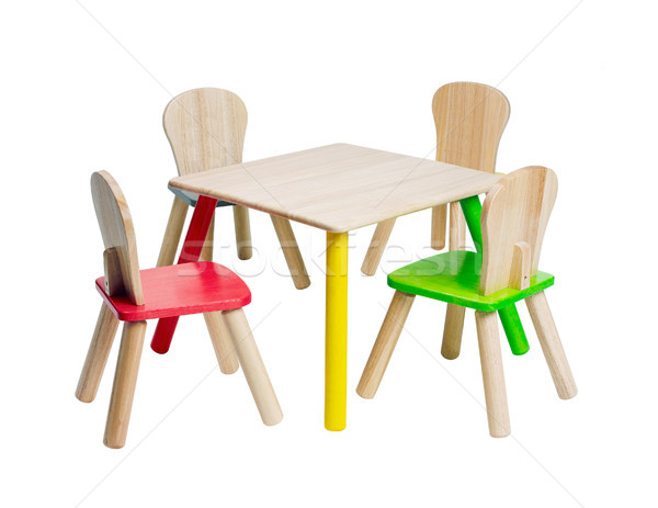 Wooden children dinner table set cute and colorful Stock photo © JohnKasawa