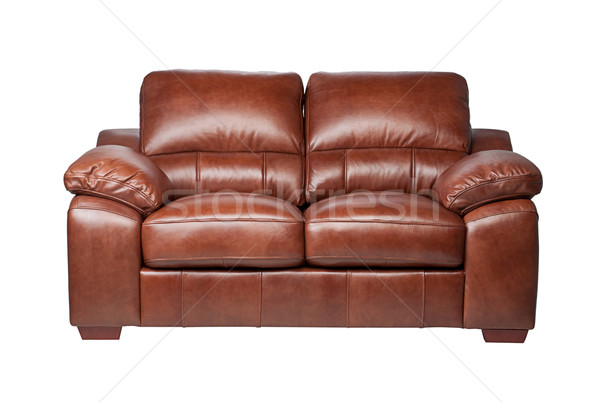 Genuine home furniture leather sofa in brown color    Stock photo © JohnKasawa