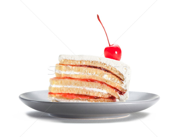 Strawberry cake topping with cherry  Stock photo © JohnKasawa