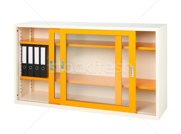 Nice design of the orange steel cabinet with mirror doors Stock photo © JohnKasawa