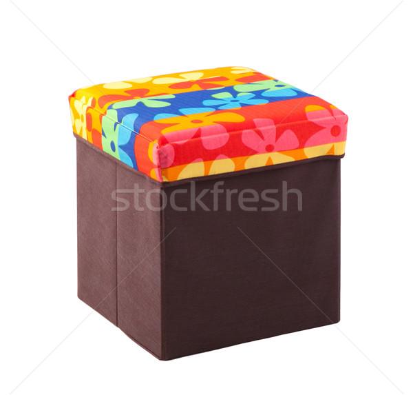 Gyönyörű hasznos zsámoly bent doboz szövet Stock fotó © JohnKasawa