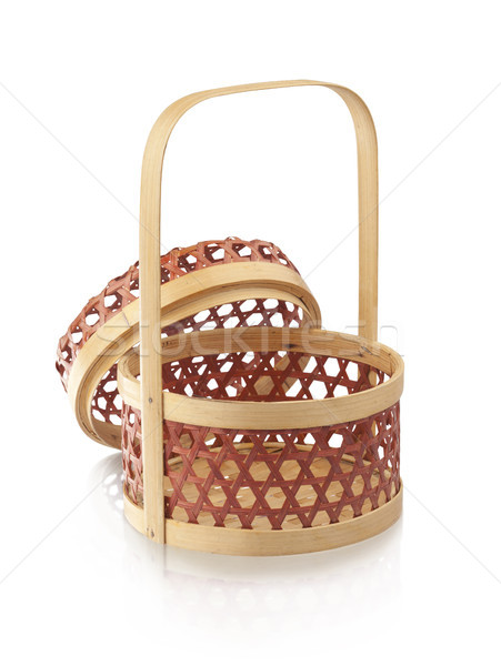 Bamboo basket isolates on white Stock photo © JohnKasawa