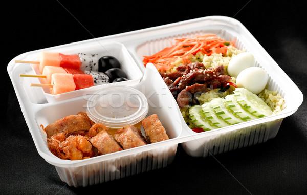 ázsiai ételhordó doboz stílus eszik tele hozzávalók Stock fotó © JohnKasawa