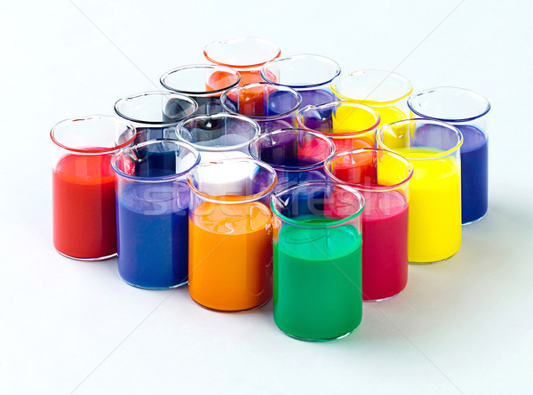 colors in the glass tubes in laboratory for experimental nontoxi Stock photo © JohnKasawa