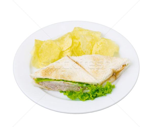 Tuna sandwich serves with crispy potato chips Stock photo © JohnKasawa