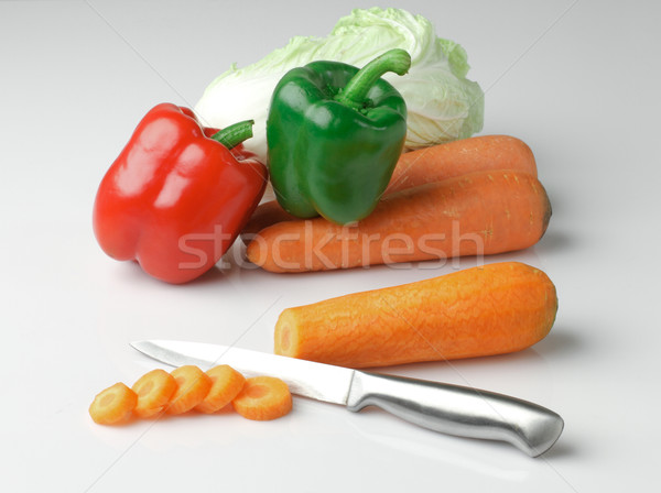 Fresh vegetables ready for cooking such as sweet pepper lettuce  Stock photo © JohnKasawa