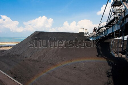Digger machine digging mass of coal preparing power electric pla Stock photo © JohnKasawa