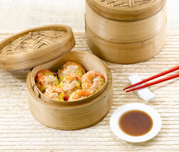 Dim sum with shrimps great asian food Stock photo © JohnKasawa