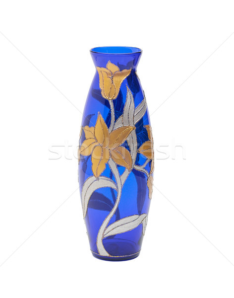 Blue stain glass vase with flower pattern isolated  Stock photo © JohnKasawa