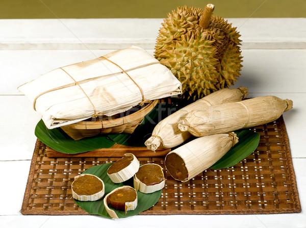 Fresh ripe and preserved Durian on the basket  Stock photo © JohnKasawa