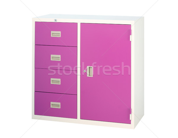Cabinet in violet color with drawers and shelf isolates Stock photo © JohnKasawa