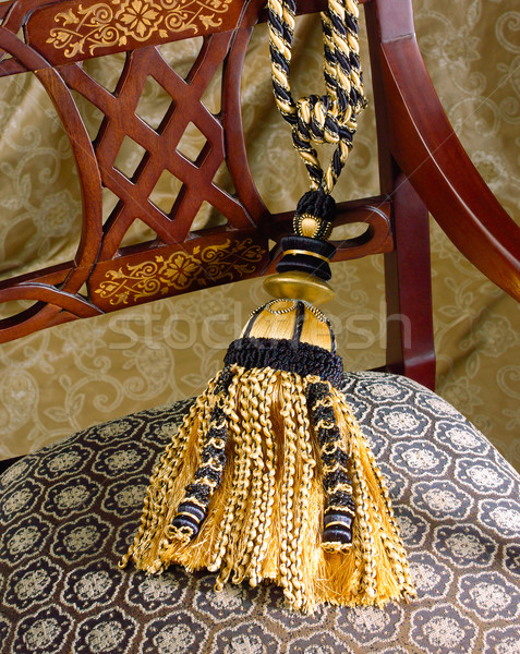 Stock photo:  great design of fabric and tassel on the asian style chair