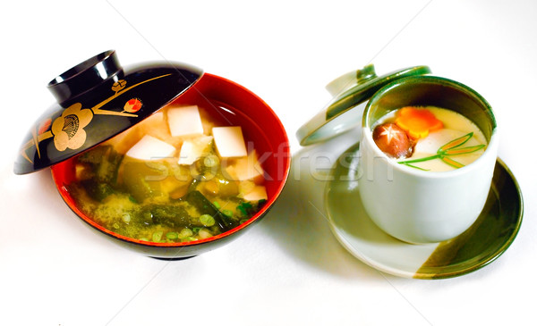 Japonês tofu sopa ovo isolado Foto stock © JohnKasawa
