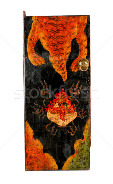 Tibetan ancient painting door with story about buddhism religion Stock photo © JohnKasawa