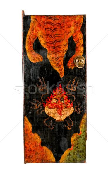 Starożytnych malarstwo drzwi historia buddyzm religii Zdjęcia stock © JohnKasawa