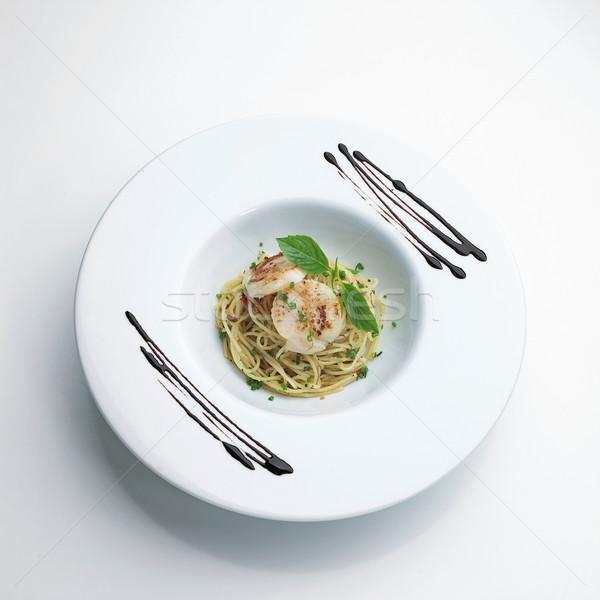 Spaghetti frutti di mare menu alimentare cucina Foto d'archivio © JohnKasawa