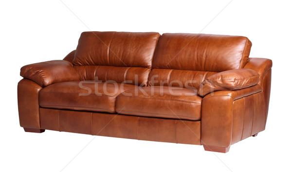 Luksusowe wygodny skóry sofa prawdziwy brązowy Zdjęcia stock © JohnKasawa