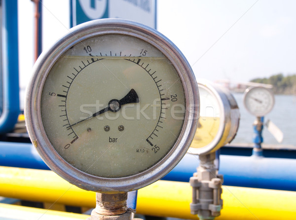 Pressuring scale meter for checking the pressure in gas pipeline Stock photo © JohnKasawa