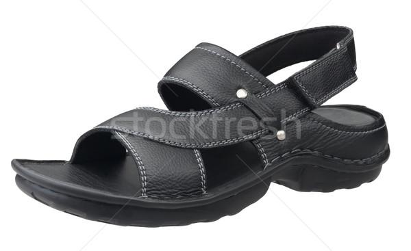 Black smart leather sandals isolates on white background  Stock photo © JohnKasawa