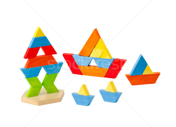 Geometry wooden toy block for kids how to learn to create and im Stock photo © JohnKasawa