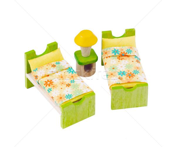 Minuscolo legno letto giocattolo mobili bambini Foto d'archivio © JohnKasawa