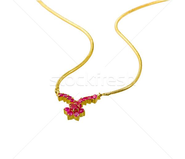 Szép fényes arany nyaklánc díszített rubin Stock fotó © JohnKasawa