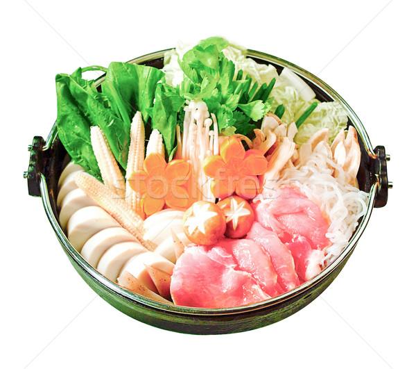 Japanese Sukiyaki set ready made for cooking isolates  Stock photo © JohnKasawa