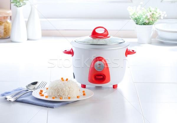 Electric rice cooking pot in the kitchen Stock photo © JohnKasawa