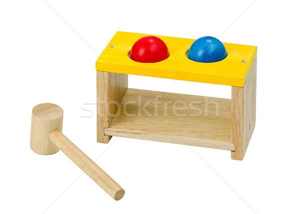 木製 木琴 おもちゃ ハンマー 孤立した 青 ストックフォト © JohnKasawa