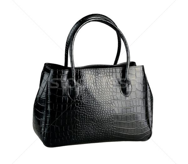 Beautiful black leather handbag made from crocodile leather isol Stock photo © JohnKasawa