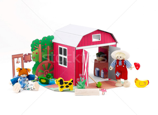 Paper doll barn house western style with farmer and there pets   Stock photo © JohnKasawa