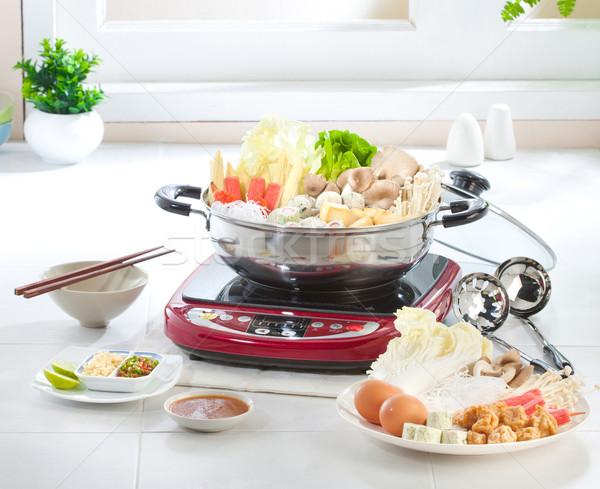ストックフォト: ポット · いい · 台所用品 · 魚 · 健康 · 卵