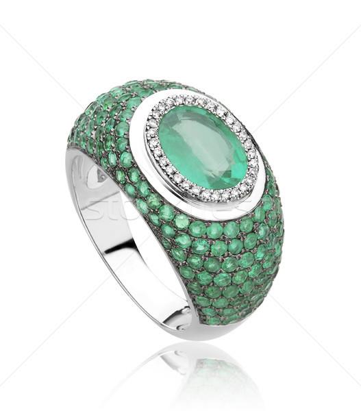 Luxury emerald ring decorated by diamonds Stock photo © JohnKasawa