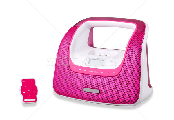Cute purple portable audio player isolates on white  Stock photo © JohnKasawa