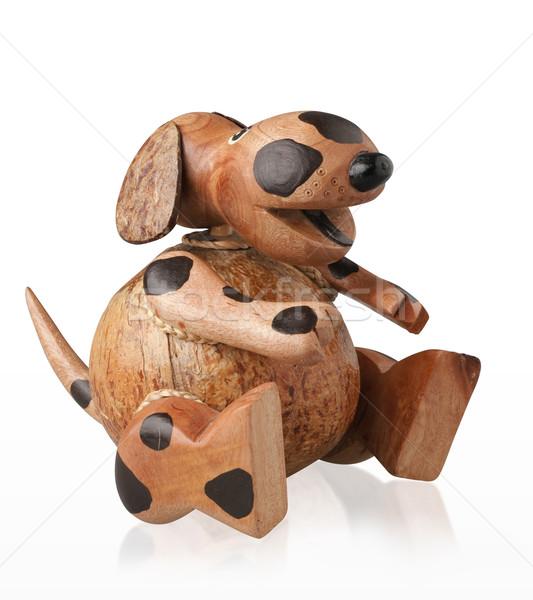Cute piggy bank handicraft wooden dog  Stock photo © JohnKasawa