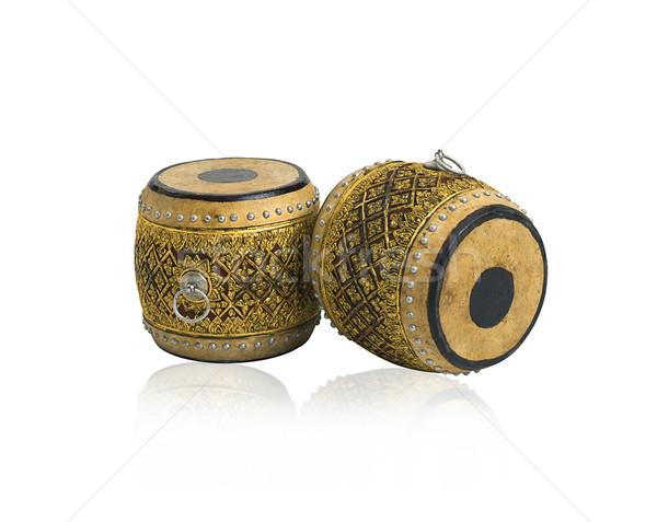 старомодный тайский барабаны антикварная музыкальный инструмент изолированный Сток-фото © JohnKasawa