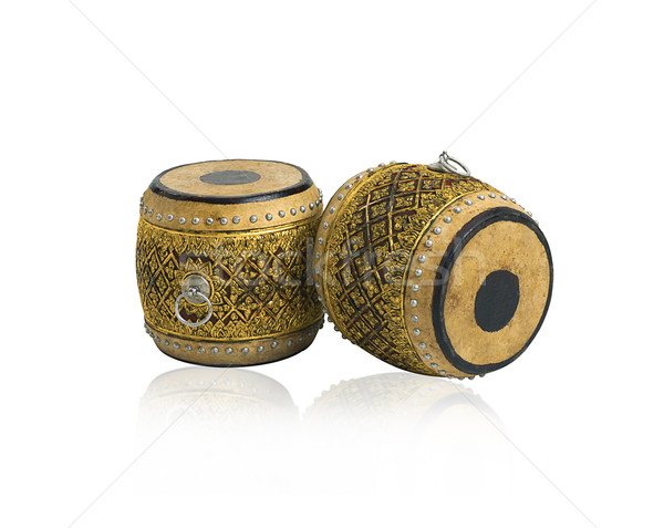Ouderwets thai drums antieke muziekinstrument geïsoleerd Stockfoto © JohnKasawa