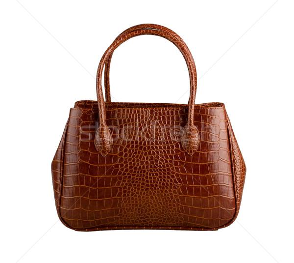 Nice brązowy krokodyla skóry kobieta torebka Zdjęcia stock © JohnKasawa