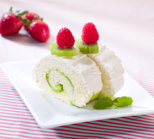 Strawberry and kiwi roll cheesecake a tasty cake  Stock photo © JohnKasawa