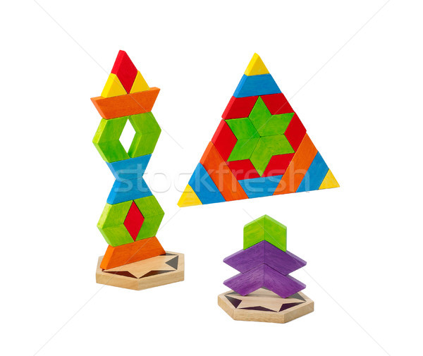 Wooden toy bricks for kids how to create and imagination Stock photo © JohnKasawa