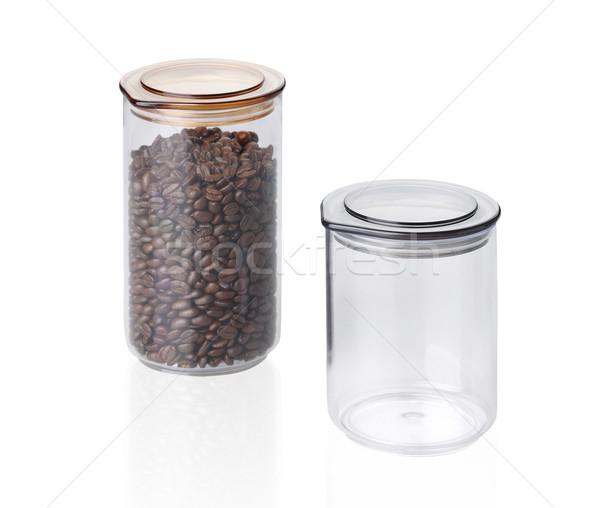 Kahve tohumları sürahi yalıtılmış beyaz güvenlik Stok fotoğraf © JohnKasawa