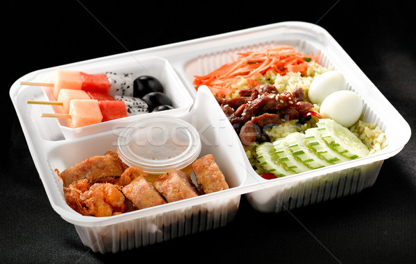 Kész eszik ázsiai rizs doboz tele Stock fotó © JohnKasawa
