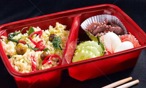 Zöld curry thai étel stílus ételhordó doboz étel Stock fotó © JohnKasawa