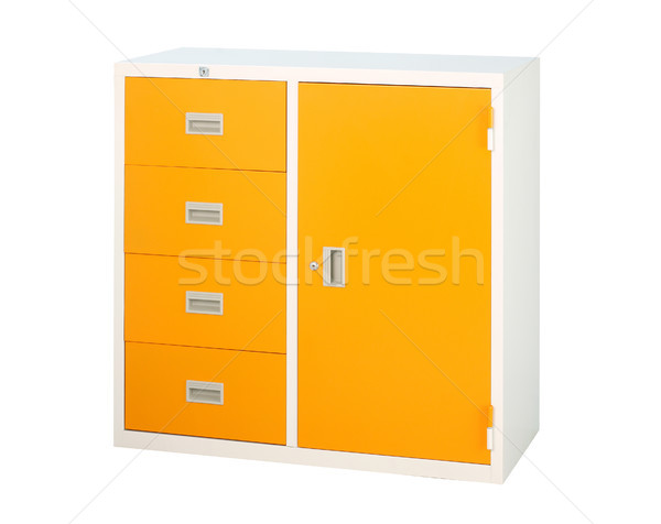 Cabinet in orange color with drawers and shelf isolates Stock photo © JohnKasawa