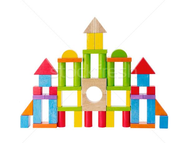 Kleurrijk houten speelgoed kasteel witte hout Blauw Stockfoto © JohnKasawa