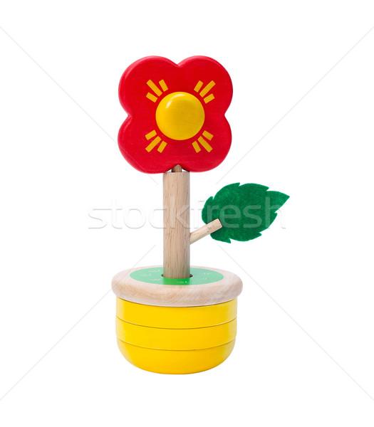 Colorful wooden flower toy vase isolates on white Stock photo © JohnKasawa
