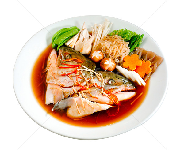Japanese boiled fish with gravy and vegetables on white  Stock photo © JohnKasawa