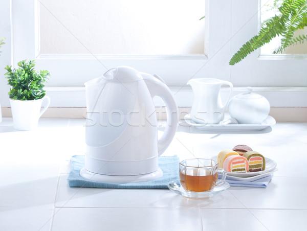 Сток-фото: Cute · дизайна · электрических · чайник · кухне · пить